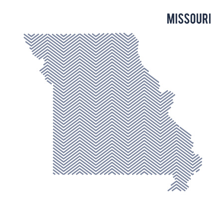 Vector abstract hatched map of State of Missouri isolated on a white background. Travel vector illustration. Illustration