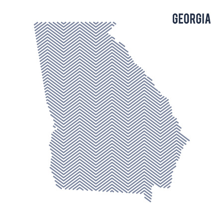Vector abstract hatched map of State of Georgia isolated on a white background. Travel vector illustration. Illustration