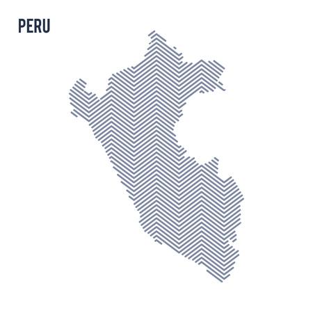 Vector el mapa tramado abstracto de Perú aislado en un fondo blanco. Ilustración de vector de viaje.