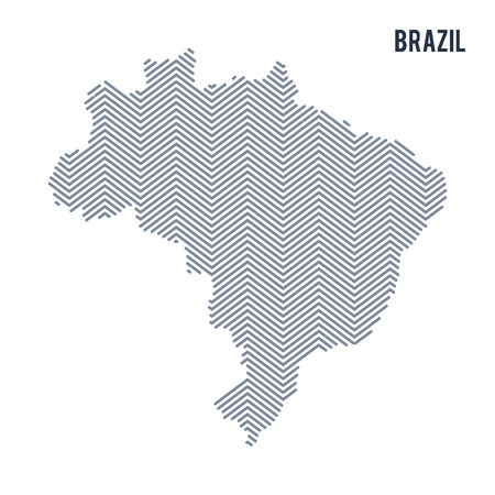 Vector abstract hatched map of Brazil isolated on a white background. Travel vector illustration.
