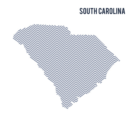 Vector abstract hatched map of State of South Carolina isolated on a white background. Travel vector illustration.
