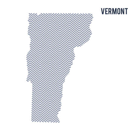 Vector abstract hatched map of State of Vermont isolated on a white background. Travel vector illustration.