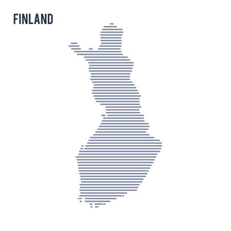 Vector abstract hatched map of Finland with lines isolated on a white background.