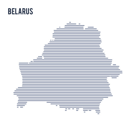 Vector abstract hatched map of Belarus with lines isolated on a white background. Illustration