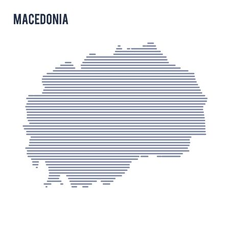 Vector abstract hatched map of Macedonia with lines isolated on a white background.