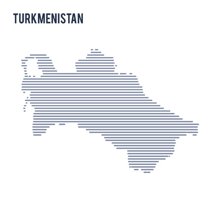 Vector abstract hatched map of Turkmenistan with lines isolated on a white background.