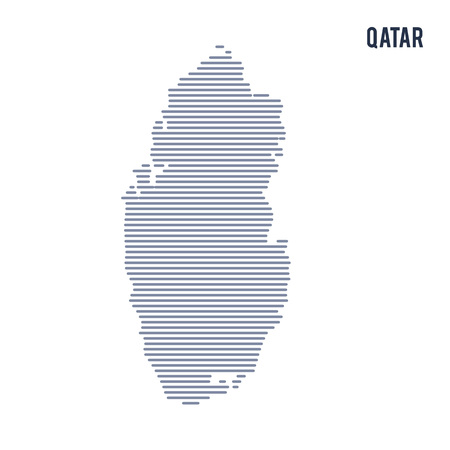 Vector abstract hatched map of Qatar with lines isolated on a white background.