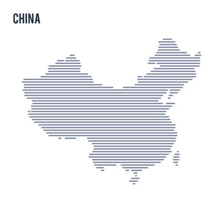 Vector abstracte uitgebroede kaart van China met lijnen geïsoleerd op een witte achtergrond.
