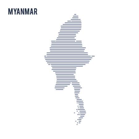 ベクトル抽象ハッチ地図ミャンマーの白い背景に分離した線。
