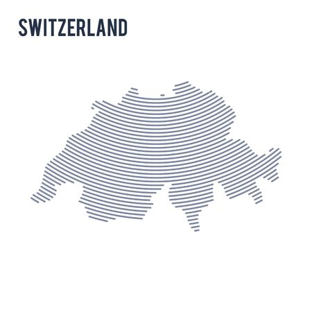 Vector abstract hatched map of Switzerland with curve lines isolated on a white background. Travel vector illustration.