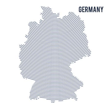 Vector abstrakte ausgebrütete Karte von Deutschland mit den Kurvenlinien, die auf einem weißen Hintergrund getrennt werden. Reise-Vektor-Illustration.