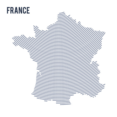 Vector abstract hatched map of France with curve lines isolated on a white background. Travel vector illustration.