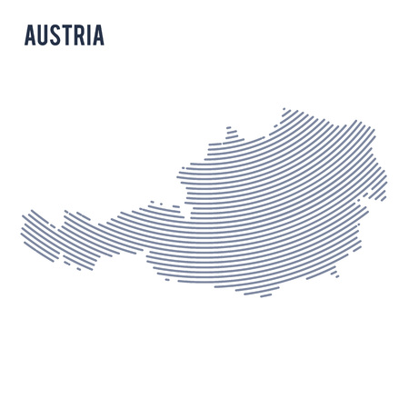 Vector abstract hatched map of Austria with curve lines isolated on a white background. Travel vector illustration.