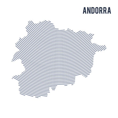 Vector abstract hatched map of Andorra with curve lines isolated on a white background. Travel vector illustration.