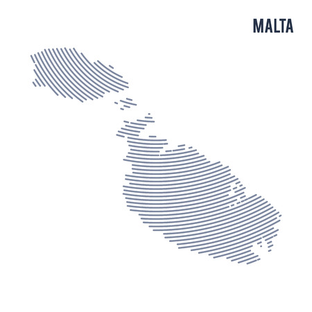 Vector abstract hatched map of Malta with curve lines isolated on a white background. Travel vector illustration.