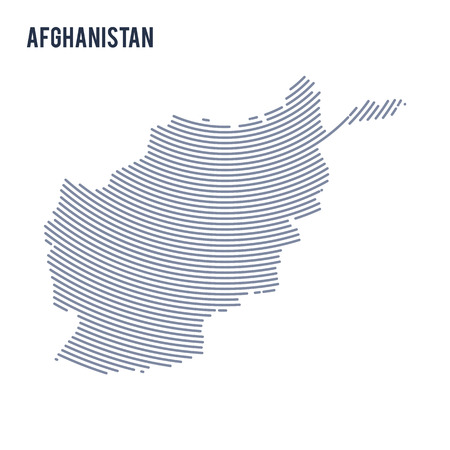 Vector abstract hatched map of Afghanistan with curve lines isolated on a white background. Travel vector illustration.