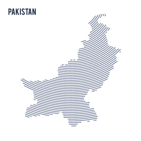 Vector abstract hatched map of Pakistan with curve lines isolated on a white background. Travel vector illustration. Illustration