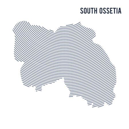 Vector abstract hatched map of South Ossetia with curve lines isolated on a white background. Travel vector illustration. Illustration