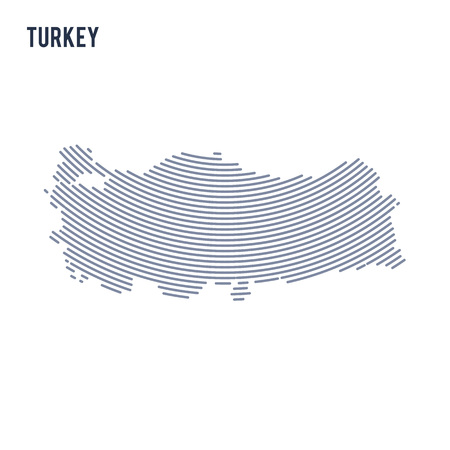 Vector abstract hatched map of Turkey with curve lines isolated on a white background. Travel vector illustration.