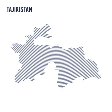 asian business: Vector abstract hatched map of Tajikistan with curve lines isolated on a white background.