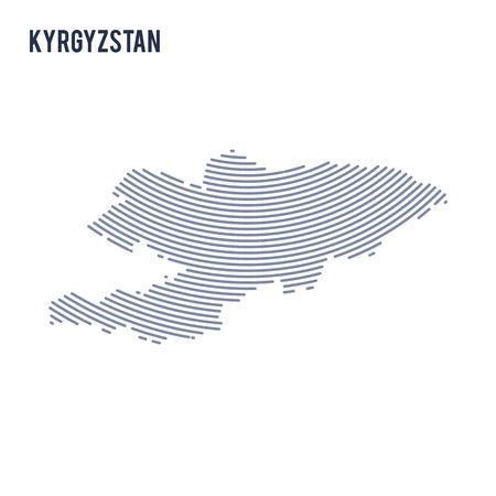 Vector abstract hatched map of Kyrgyzstan with curve lines isolated on a white background. Travel vector illustration.