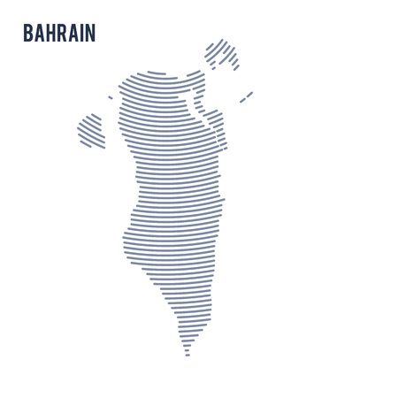 Vector abstract hatched map of Bahrain with curve lines isolated on a white background. Travel vector illustration.