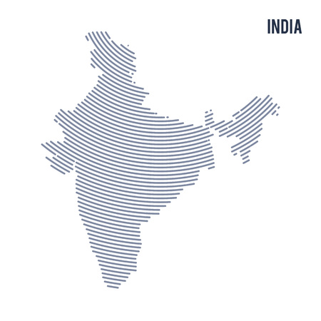Carte hachurée abstraite de vecteur de l'Inde avec les lignes de la courbe isolé sur fond blanc. Illustration vectorielle de voyage.