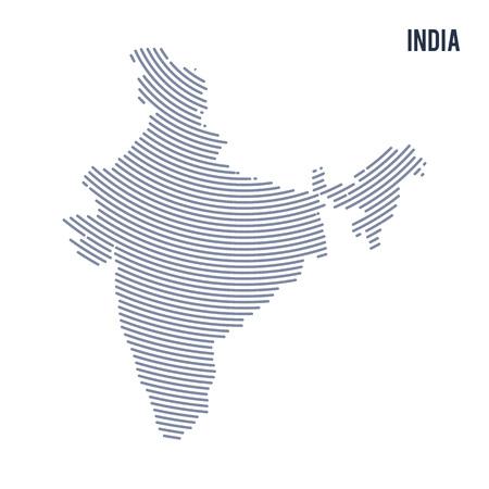 Vector abstracte uitgebroede kaart van India met krommelijnen die op een witte achtergrond worden geïsoleerd. Reizen vectorillustratie. Stock Illustratie
