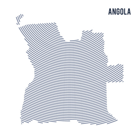 Vector abstract hatched map of Angola with curve lines isolated on a white background. Travel vector illustration. Illustration