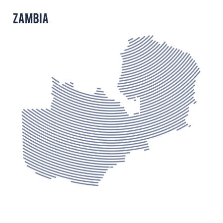 Vector abstract hatched map of Zambia with curve lines isolated on a white background. Travel vector illustration.