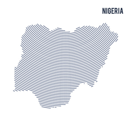 Vector abstract hatched map of Nigeria with curve lines isolated on a white background. Travel vector illustration.