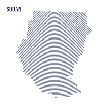 Vector abstract hatched map of Sudan with curve lines isolated on a white background. Travel vector illustration. Illustration