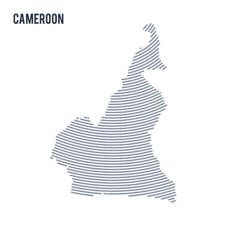 cameroon: Vector abstract hatched map of Cameroon with curve lines isolated on a white background. Travel vector illustration. Illustration