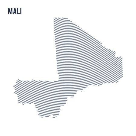 Vector abstract hatched map of Mali with curve lines isolated on a white background. Travel vector illustration.