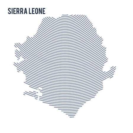 Vector abstract hatched map of Sierra Leone with curve lines isolated on a white background. Travel vector illustration. Illustration