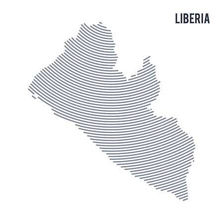 Vector abstract hatched map of Liberia with curve lines isolated on a white background. Travel vector illustration. Illustration