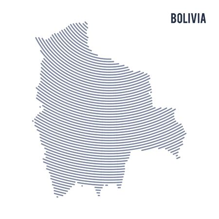 Vector abstract hatched map of Bolivia with curve lines isolated on a white background. Travel vector illustration.