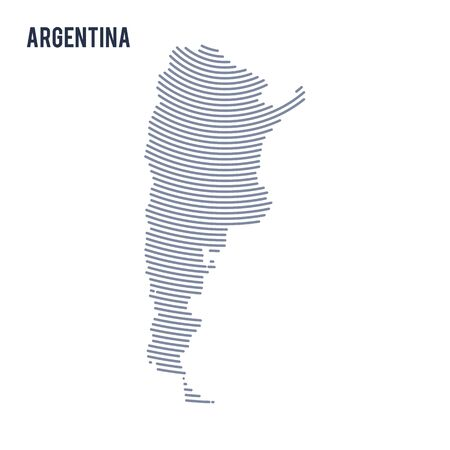 Vector abstract hatched map of Argentina with curve lines isolated on a white background. Travel vector illustration.