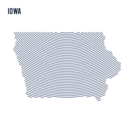 Vector abstract hatched map of of State of Iowa with curve lines isolated on a white background. Travel vector illustration.