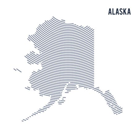 Vector abstract hatched map of of State of Alaska with curve lines isolated on a white background. Illustration