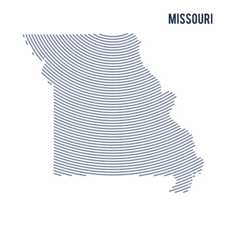 Vector abstract hatched map of of State of Missouri with curve lines isolated on a white background. Travel vector illustration.