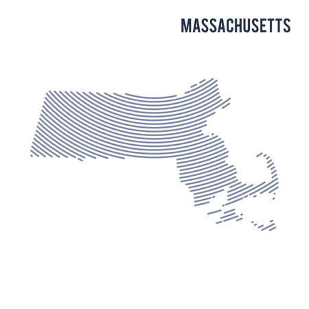 Vector abstract hatched map of of State of Massachusetts with curve lines isolated on a white background.