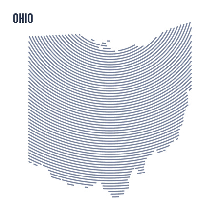 Vector abstract hatched map of of State of Ohio with curve lines isolated on a white background.
