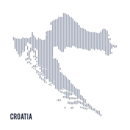 Vector abstract hatched map of Croatia with vertical lines isolated on a white background. Travel vector illustration.