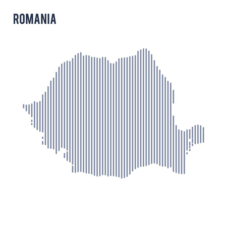 Vector abstract hatched map of Romania with vertical lines isolated on a white background. Travel vector illustration.