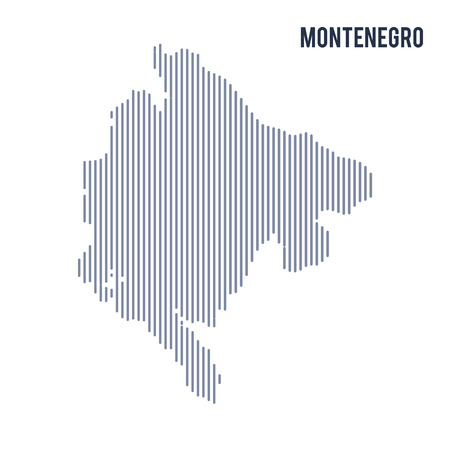 Vector abstract hatched map of Montenegro with vertical lines isolated on a white background. Travel vector illustration. Illustration