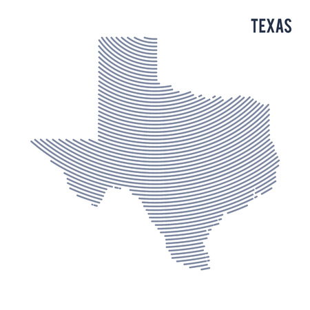 Vector abstract hatched map of of State of Texas with curve lines isolated on a white background. Travel vector illustration. Illustration