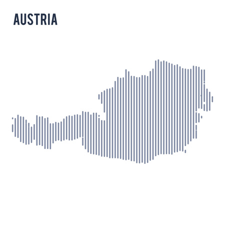 Vector abstract hatched map of Austria with vertical lines isolated on a white background. Travel vector illustration. Illustration