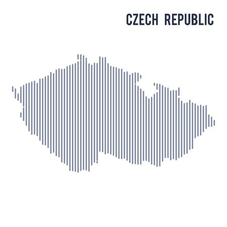 Vector abstract hatched map of Czech Republic with vertical lines isolated on a white background. Travel vector illustration. Illustration