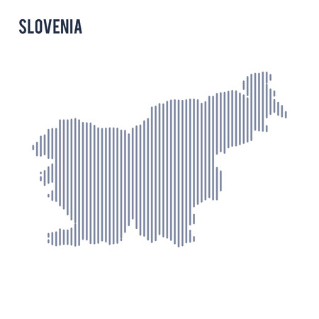 Vector abstract hatched map of Slovenia with vertical lines isolated on a white background. Travel vector illustration.